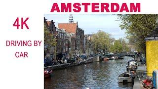 Driving in Amsterdam Netherlands 2020.