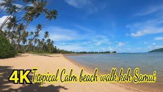 #koh samui#Beach#4Kbeach#ThailandRelaxing Empty beach walk tropical island Koh Samui Thailand