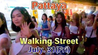 [Pattaya]Many ladies were walking on the Walking Street at Night on July. 31, 2020 under COVID-19