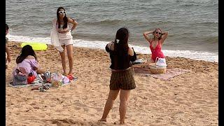 Jomtien Pattaya Beach Is Full Of Tourists For The 4 Day Holiday In Thailand, 6th September 2020 (4k)